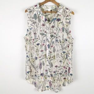 H&M   sheer sleeveless button down blouse